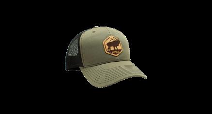 Nosler Green & Black Trucker Hat with Leather Elk Patch