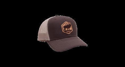 Nosler Brown & Cream Trucker Hat with Leather Elk Patch